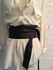J.Jill Wide Leather Slouchy Tie Belt Chocolate Brown size S/M