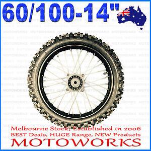"60/100 - 14"" Inch Tire Rim Front Wheel 70cc 110cc 125cc Dirt Pit Trail Bike S"