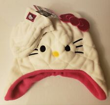 30b1281ea Hello Kitty Girls Fleece Beanie Hat Earflaps and Mittens 2-Piece - Pink &  White
