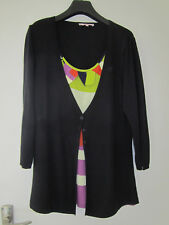 Per Una @ M&S navy cardigan - attached patterned top - worn once - size 14