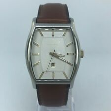 FOSSIL MENS SILVER TONE WATCH BROWN LEATHER STRAP CASE 35mm FS-4454