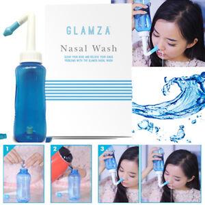 300ml Nasal Wash Neti Pot Sinus Allergies Relief Nose Clean Rinse Bottle UK SELL