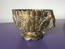 Quality Heavy Cast Copper Bowl, Planter. Dragons and Elephants. Chinese
