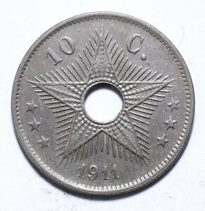 1911, Congo (Belgian), 10 Centimes, Albert I, EF, KM# 17, Lot [747]