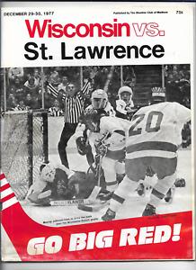 December 29-30 1977 WISCONSIN vs ST LAWRENCE College Hockey Program (JS)