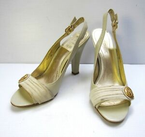 CIRCA Joan & David Sling Back Open Toe Shoes Size 10M Ivory