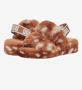 UGG Women's Oh Yeah Spots Slides Slipper Natural Lamb Fur NWOB Size 7