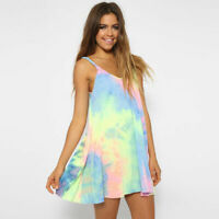 Women Tie Dye Mini Short Dress Summer Beach Loose Tops Slip Sundress Sleeveless