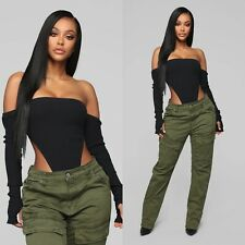 Fashion Nova Black Off the Shoulder Bodysuit Size S