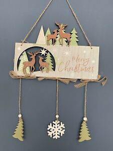 Merry Christmas Wooden Plaque Sign Home Decoration