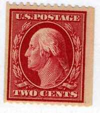 1910 2c Washington coil SL Wmrk carmine (SC# 386) UNUSED Original Gum – NH