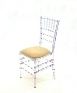 New Crystal Chiavari Chairs with Ivory Seat Pad, Ghost Chairs, Resin Chairs