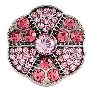 Pink Rhinestone Flower 20mm Snap Charm For Ginger Snaps Interchangeable Jewelry