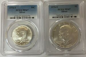 1976-S Silver Kennedy 50c and Eisenhower $1 PCGS MS67  (2 Coin Set)