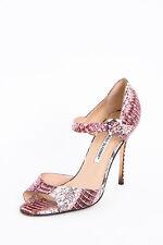 MANOLO BLAHNIK Rose Pink Caldo Snakeskin Leather Ankle Strap Heel Sandal 8/38