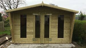 12x8ft WOODEN SUMMERHOUSE ULTIMATE GARDEN 19mm LOG LAP 2ft CANOPY