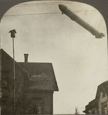 Zeppelin Flying Over a German Town in Lower Valley of the Rhine. WW1 Stereoview