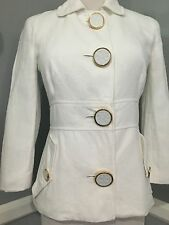 TORY BURCH White, Cotton&Linen , Buttons With Logo JACKET , size 0