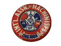 Bastian Bros Vintage A of M Intl Assn of Machinist Union Pin Pinback Button F3