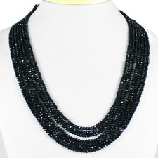 267.00 CTS NATURAL 7 LINE RICH BLACK SPINEL ROUND FACETED BEADS NECKLACE
