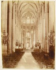 Intérieur de la Cathédrale  Bourges c1870 Photographie albuminée ancienne 29 cm