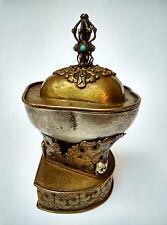 Authentique ancien Kapala complet Tibet 19e tantrisme hindou bouddhisme