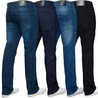 Enzo Mens Stretch Jeans Straight Leg Regular Fit Basic Denim Pants Sizes 28-50''