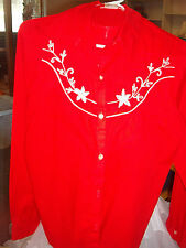WESTERN SQUARE DANCE LIBERATED LADY LADIES RED LONG SLEEVE SHIRT  SZ.S