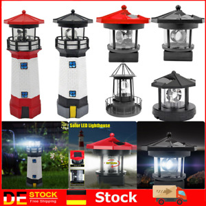 Solar LED Leuchtturm Licht Garten Hof Rasen Lampe Beleuchtung Dekor Lampe 360°