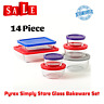 Set 14 Piece Pyrex Simply Food Storage Glass Bakeware Clear Containers,Lid,Bowls