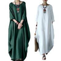 Plus Size Batwing Sleeve Cotton Linen Women Maxi Dress Casual Boho Kaftan Tunic
