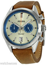 Fossil CH2952 Del Rey White Dial Leather Strap Chronograph Men's Watch