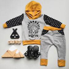 AU Lion Newborn Baby Kids Boys Hooded Tops+Long Pants 2pcs Clothes Outfits Set