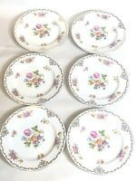 VINTAGE LOT OF 6 ROSE CHINA DESSERT PLATE MADE IN OCCUPIED JAPAN