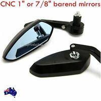 "Universal CNC black Motorcycle 7/8"" 1"" Handle Bar End Rear Side View Mirrors"