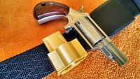 Reversible North American Arms NAA Magnum frame revolver Gold color holster.