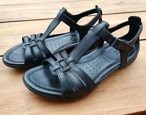 Sandalen Riemchensandalen von ecco, T-Steg, Größe 40, Leder, schwarz
