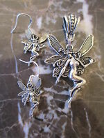 Silver Fairy Fae Pendant & Matching Earrings on .925 Ear Wires-Wicca Pagan