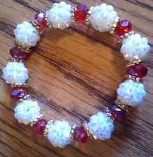 Handmade Red/White Resin Stretch Bracelet