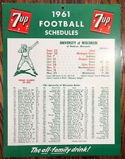 1961 7UP Soda FOOTBALL University of WISCONSIN Schedule SIGN Vintage Advertising