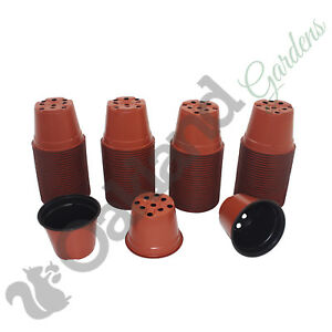 500 x 13cm Plant Pots Terracotta Plastic 1 Litre L lt Professional Thermoformed