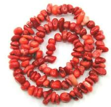 "4-7mm loose beads red coral irregular jewelry gemstone Diy chips freeform 16"""