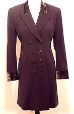 DONNA KARAN Vtg Italy 6 S Brown Virgin Wool Jacket Coat Long Blazer Velvet Trim