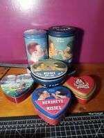Vintage Hershey's Kisses Milk Chocolate Tin Can Canister 1980, 82,&92 Container