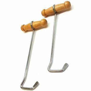 "Western Riding Boot Hooks with Wood Handles for Putting on Boots 7-3/4"" Flat End"