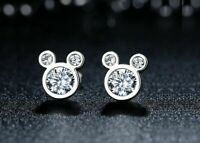 2.00 Ct Round Diamond Mickey Mouse Stud Women's Earrings 14k Real White Gold
