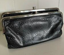 Hobo International wallet Lauren Tooled Black Leather Clutch double frame