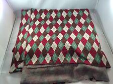 Christmas Argyle Fabric Diamond Pattern Red Green Brown Beige 3.5 x 2 Yards LxH