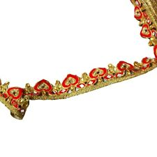 Bridal Sari Border Women Craft Fabric By the Yard Gold Lace Ribbon Dress Trim