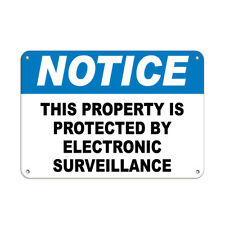Horizontal Metal Sign Multiple Sizes Notice Protected Electronic Surveillance